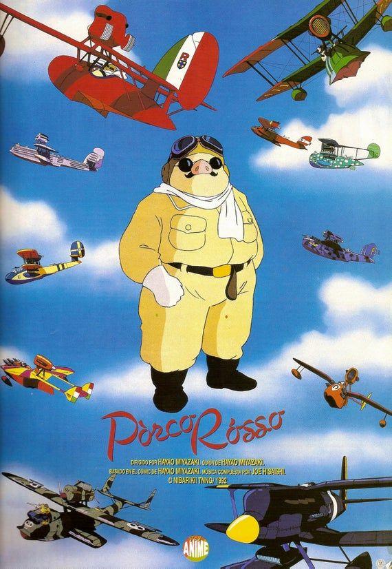 Porco Rosso Movie Posters - MIYAZAKI Ghibli Classic Films Vintage Art Prints Japanese Ghibli Print, Jidai Manga Retro Poster