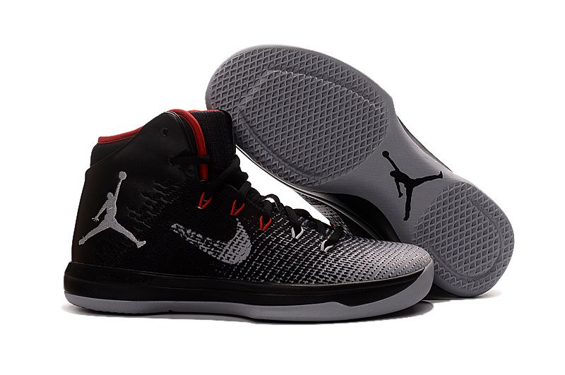 Nike Air Jordan XXXI 31 Black White Wolf Grey Red Mens Basketball Shoes a160b5f4717