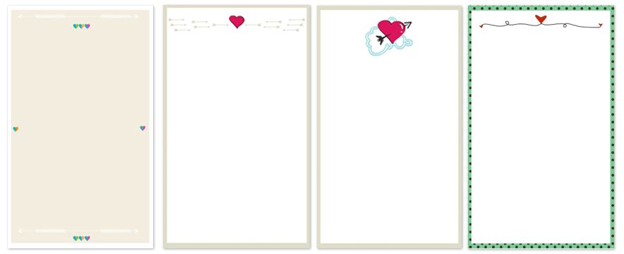 4 different free valentine's cards