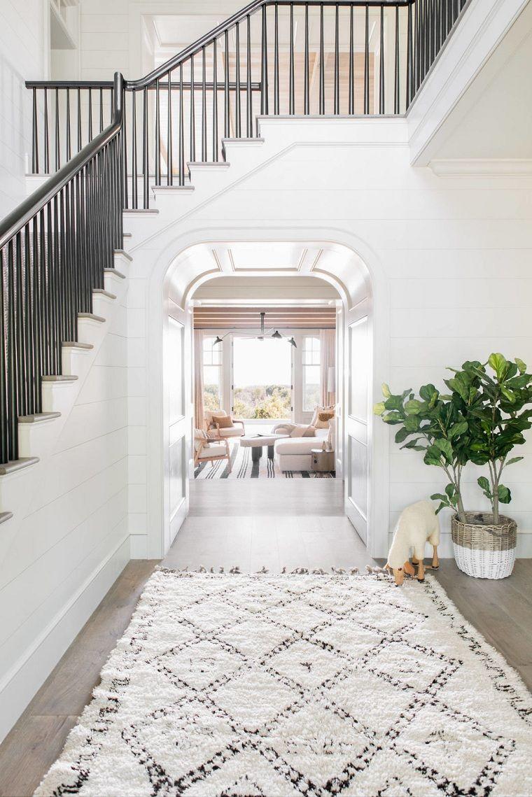 Ingresso Di Casa Decorato Pavimento Parquet Colore Grigio E