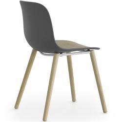Photo of Lapalma Seela S313 chair lacquered white / black stained open-pore white / synthetic leather Grimm (optional