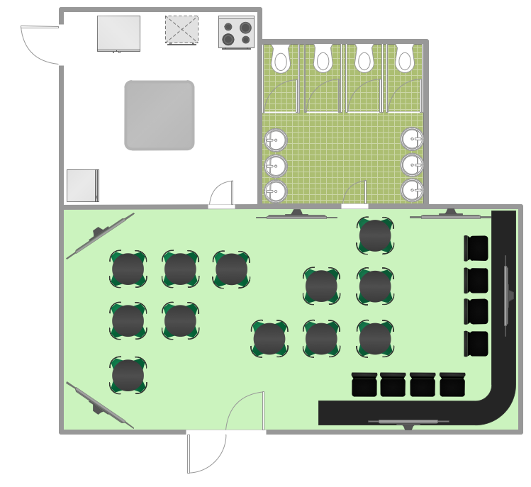 Sport Bar Sample Restaurant floor plan, Cafe floor plan