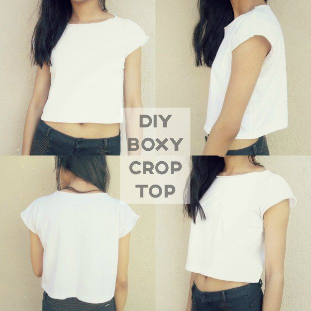 2d597e110a7 DIY: Boxy Crop Top From an Oversized Tee | Crafts and Gift Ideas ...