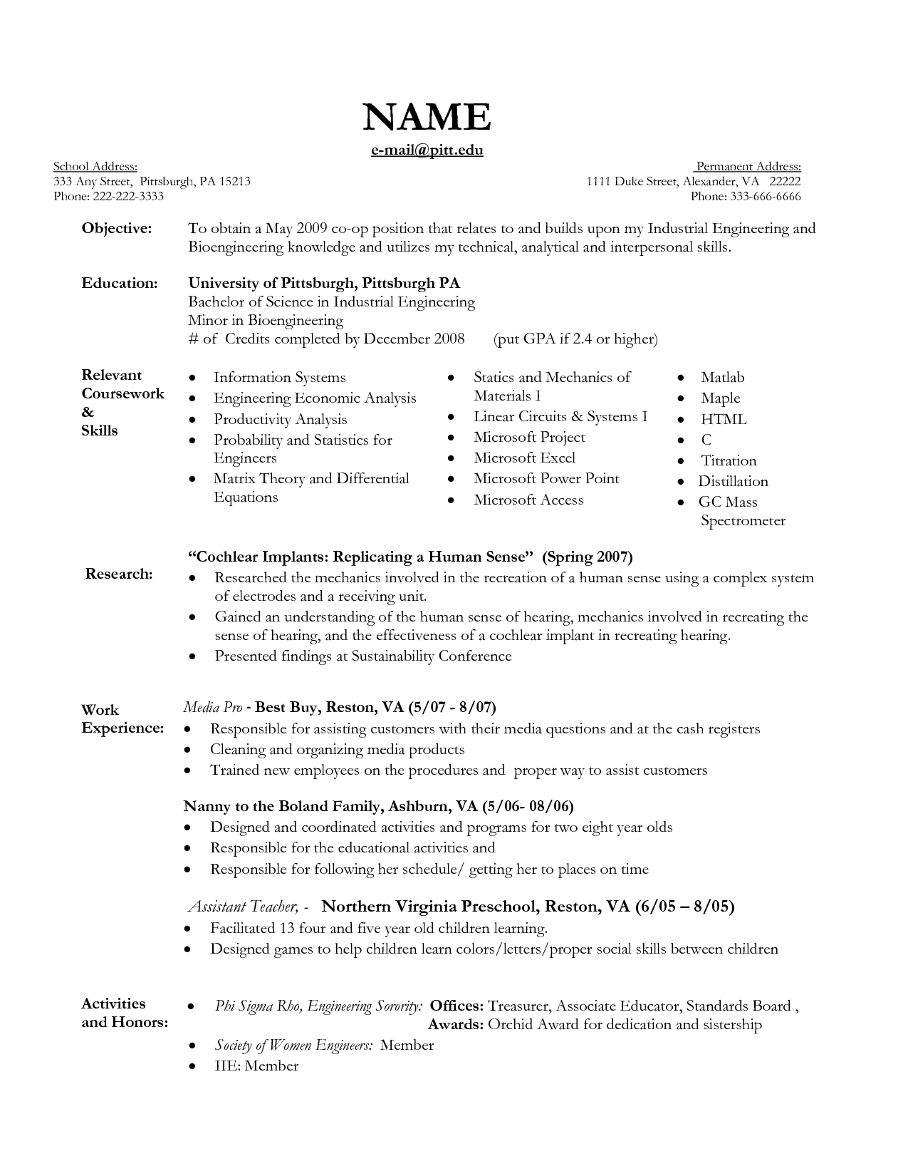 Sample Nanny Resume How To Write Coursework  Course Work  Pinterest