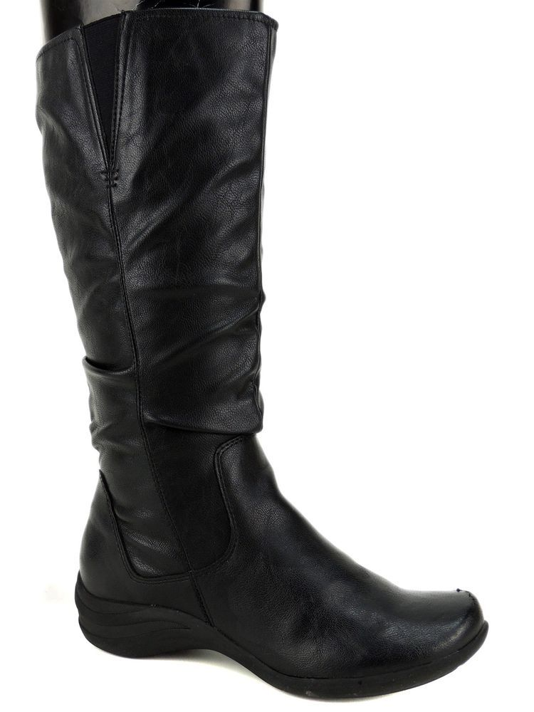 Hush Puppies Women S Feline Alternative Wide Calf Boots Black Leather Size 9 M Black Leather Boots Wide Calf Boots Hush Puppies Boots