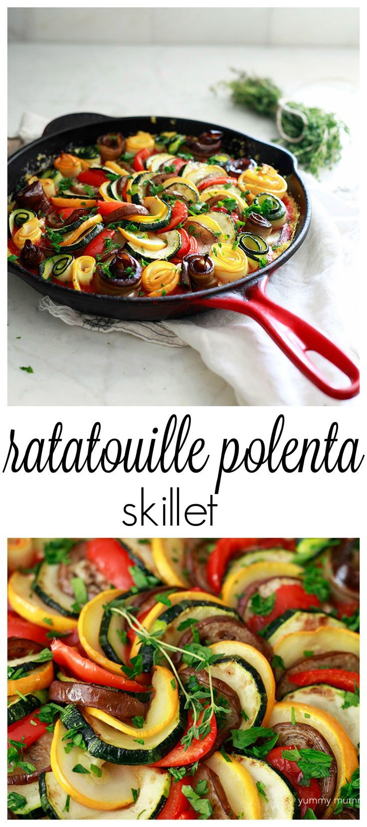 I love this layered ratatouille over polenta for a comforting but healthy vegetarian/vegan meal. Perfect for using summer squash, eggplant, and peppers.