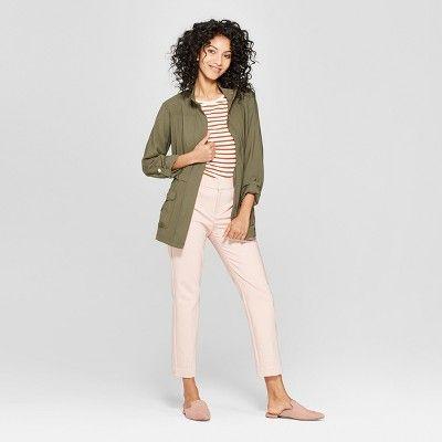 25d96ecda0d Women s Long Sleeve Banded Cuff Utility Jacket - A New Day Olive (Green) Xxl