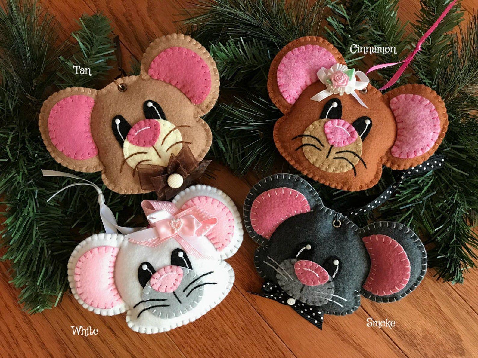Wool Felt Mouse Ornament Hanger Color Choice Etsy Felt Ornaments Felt Snowman Felt Mouse