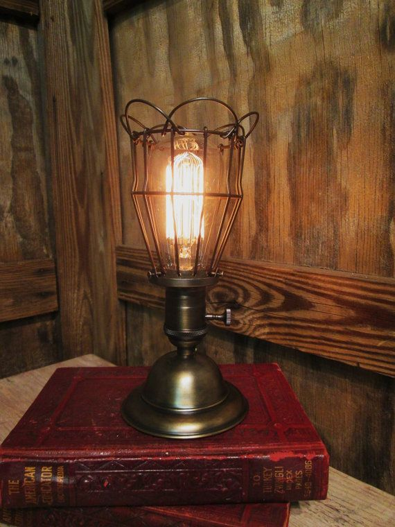 Vintage Industrial Table Lamp with Trouble by OldFactoryArtifacts, $145.00