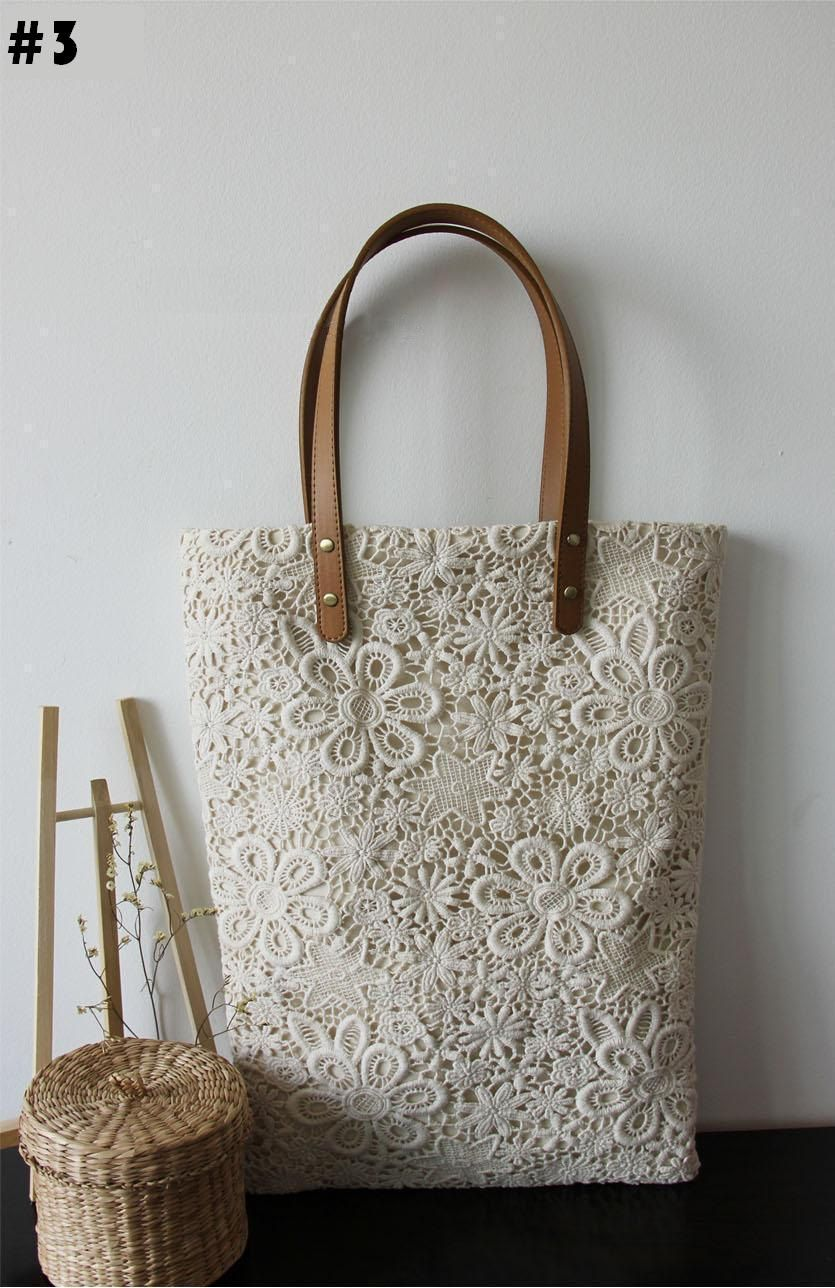Photo of Bridesmaid Gift: Handmade Shabby Chic Cotton Wedding Bag, Lace Bag, Lace Tote, Vintage Style, Ivory/Off White, Make to Order, L021