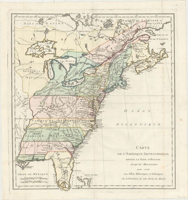 1782 Map Of Eastern United States Just Prior To Treaty Of Paris Map United States Map Treaty Of Paris