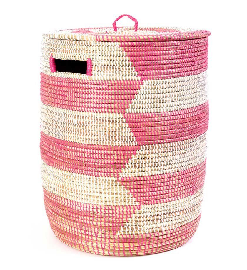 Pink African Sahara Basket With Lid With Images Woven Laundry