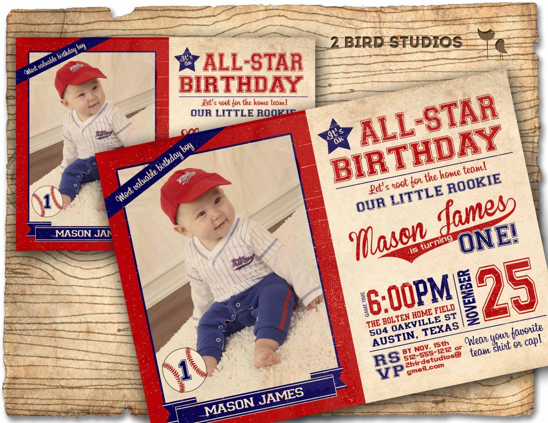Baseball Invitation Birthday Party Vintage Card Invites For YOU Print