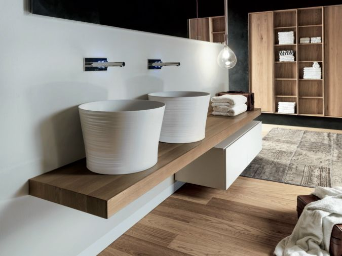 Countertop round Ceramilux® washbasin Handmade Collection by FALPER