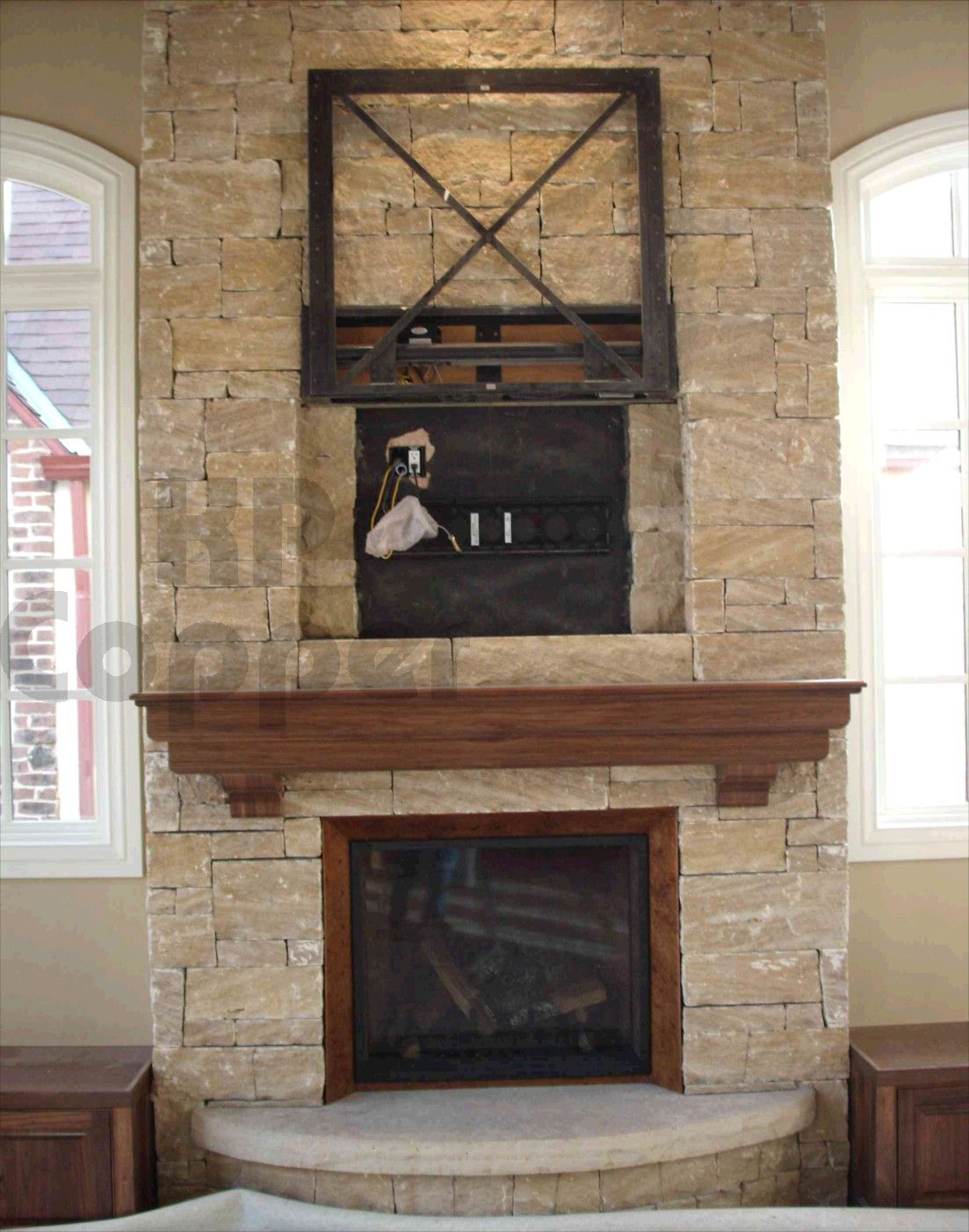 Stone fireplace designs doors copper fireplaces - Stone and wood fireplace ...