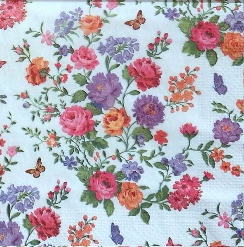 4 Single Paper Table Napkins for Decoupage Small Flowers
