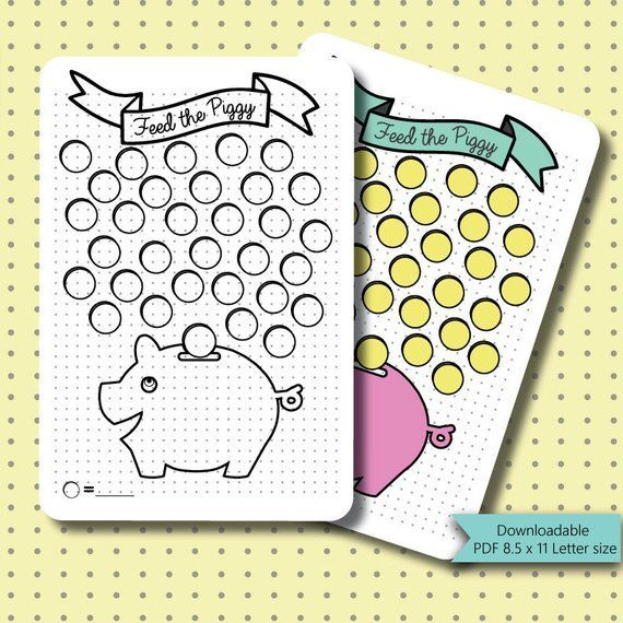 Bullet Journal Stickers  Piggy Bank Savings Tracker Page  | Etsy