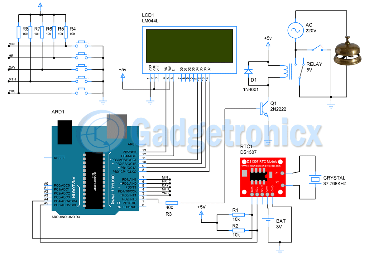 Automatic School Bell System Using Arduino Gadgetronicx Arduino Electronic Schematics Arduino Projects