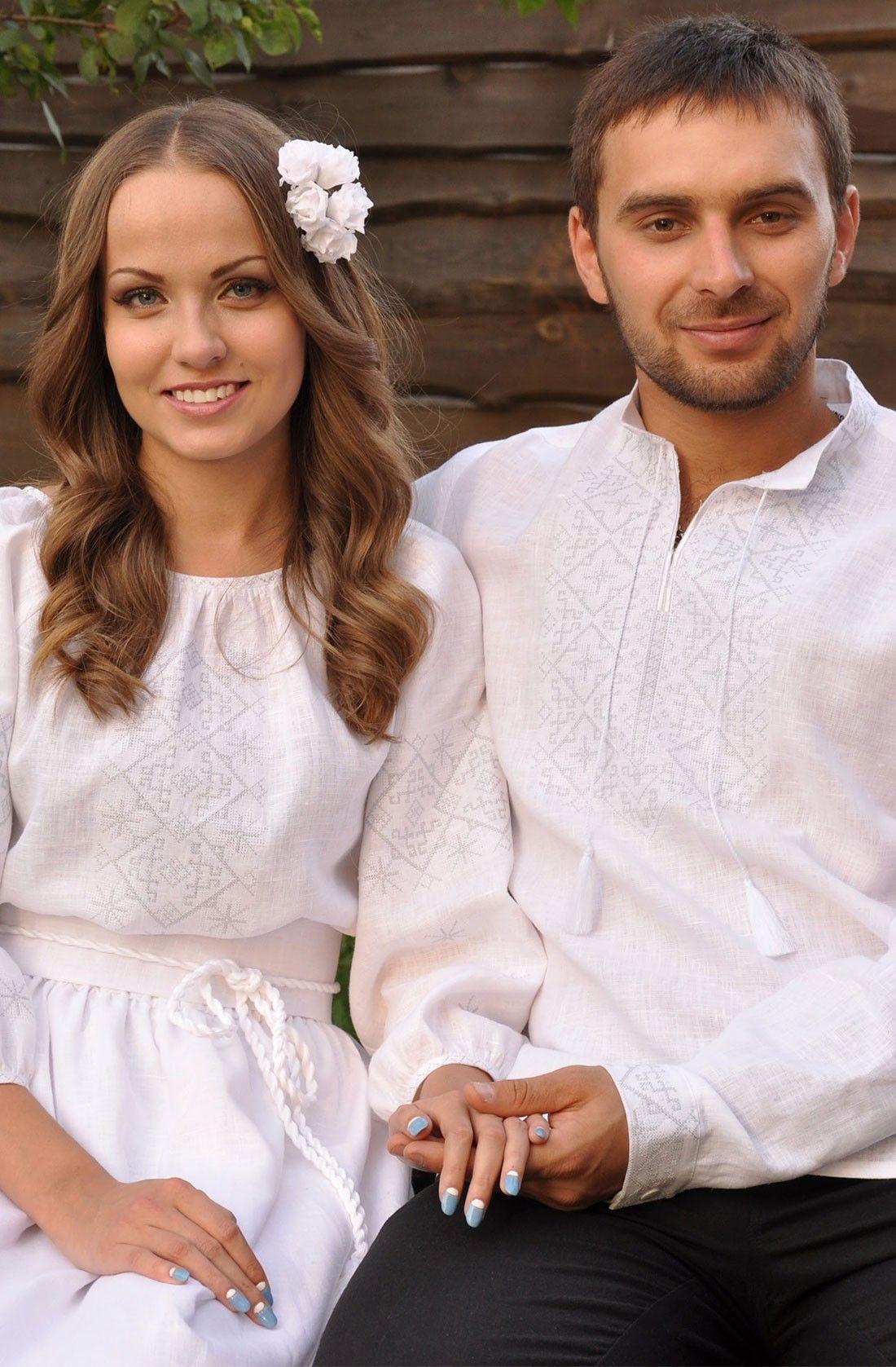 Комплект білих льняних українських вишиванок з білою вишивкою для заручин 877d97ceaedf0