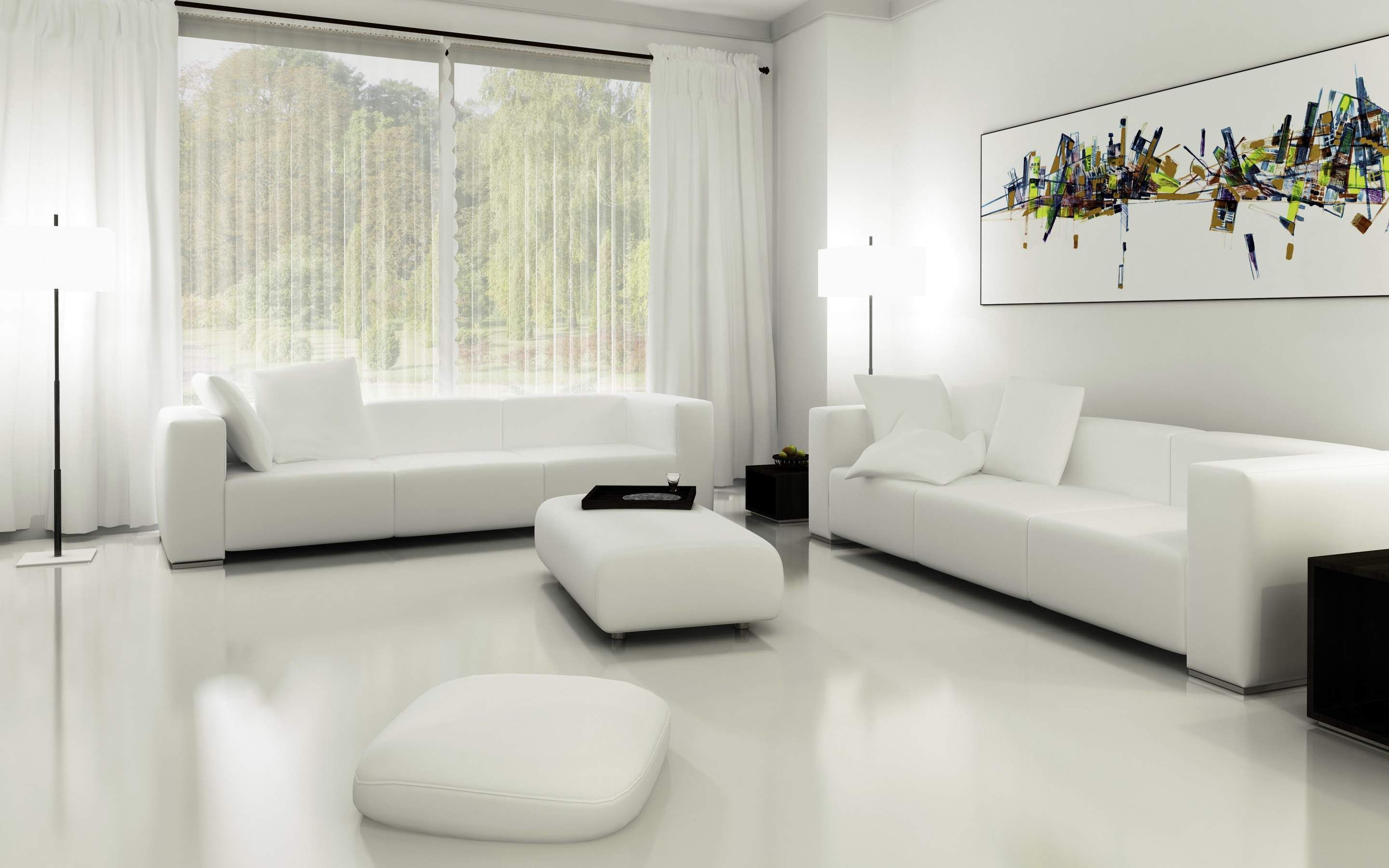Simple Style White Living Room Ideas With White Wall Paint