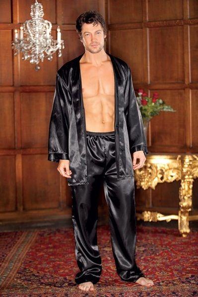 Master's masked men's silk pajamas pants with matching robes ...
