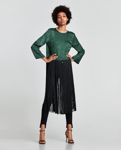 dd28853b25 JACQUARD TOP WITH LONG FRINGE-TOPS-WOMAN-SALE | ZARA Albania | a ...