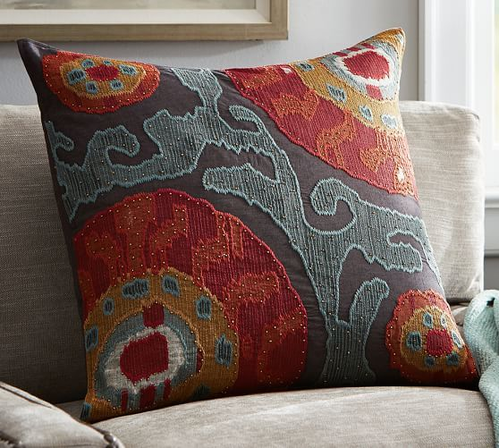Houston Cropped Suzani Pillow Cover Red Pillows Living Room Red Floral Throw Pillows