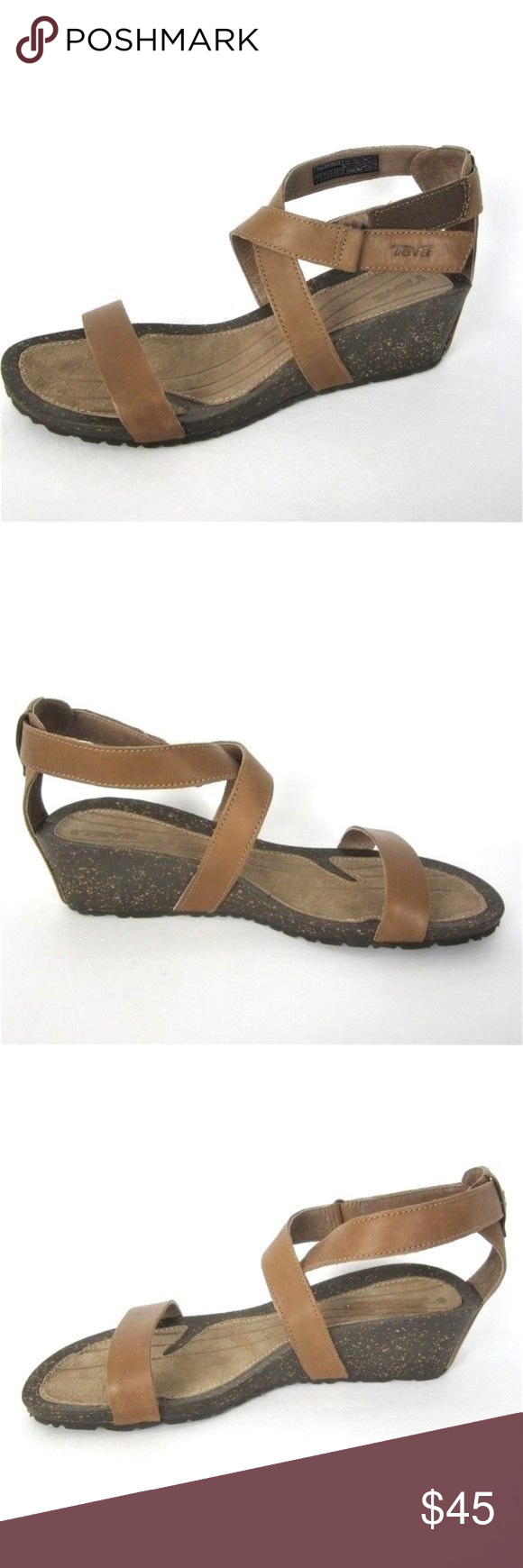 34dc46b976a8 Teva 11 Women s Wedge Sandals NrNu Brown Cabrillo Leather uppers with wrap  around hook and loop