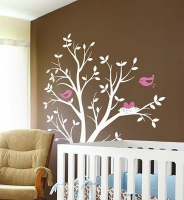 Tree decal brown walls bedrooms pinterest brown walls wall pink white on brown wall decals for kids ppazfo
