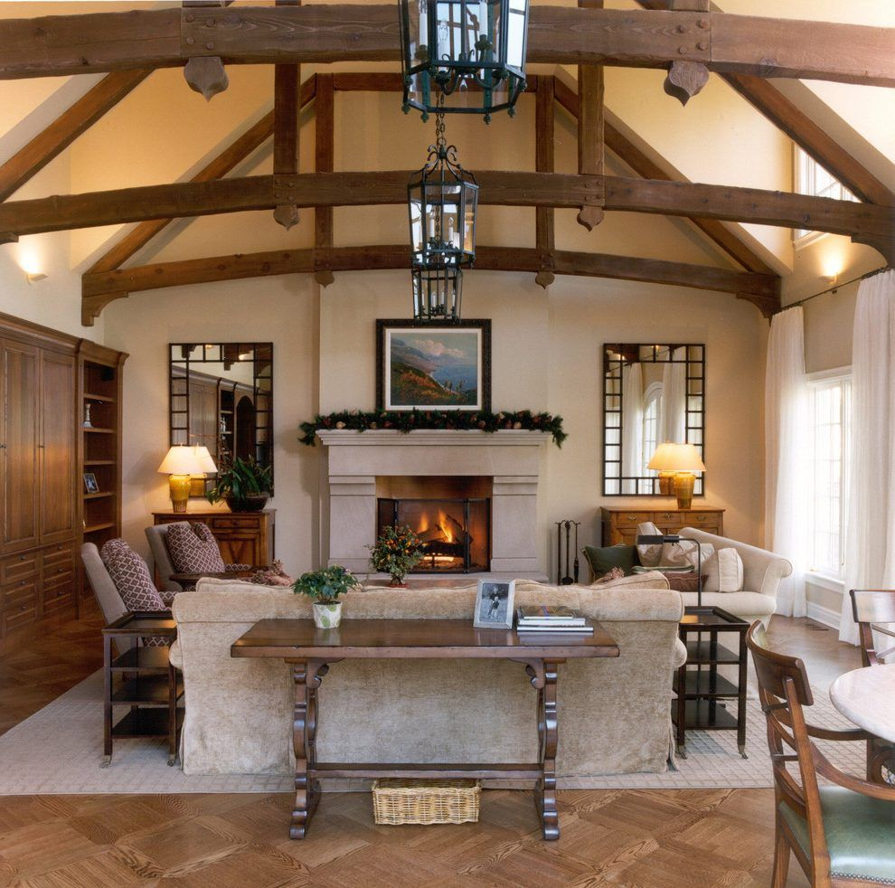 Wood Beam Ceilings Living Room Traditional Console