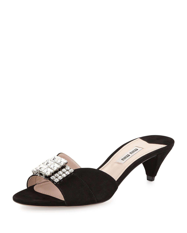 Miu Miu Crystal Suede Kitten Heel Slide Black Kitten Heels Black Mid Heel Shoes Kitten Heel Shoes
