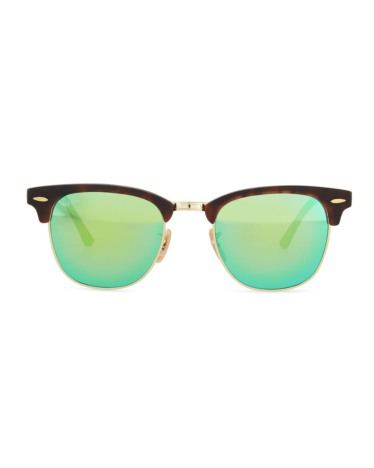 78f484ff5 Clubmaster Half-Rimmed Sunglasses Tortoise/Green | Wish List | Ray ...