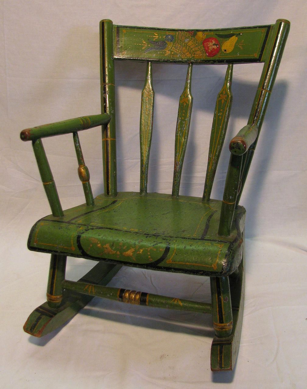 Antique Amish Green Folk Art Stenciled Child's Rocking Chair #childchair  Old Wooden Chairs, Antique - Antique Amish Green Folk Art Stenciled Child's Rocking Chair
