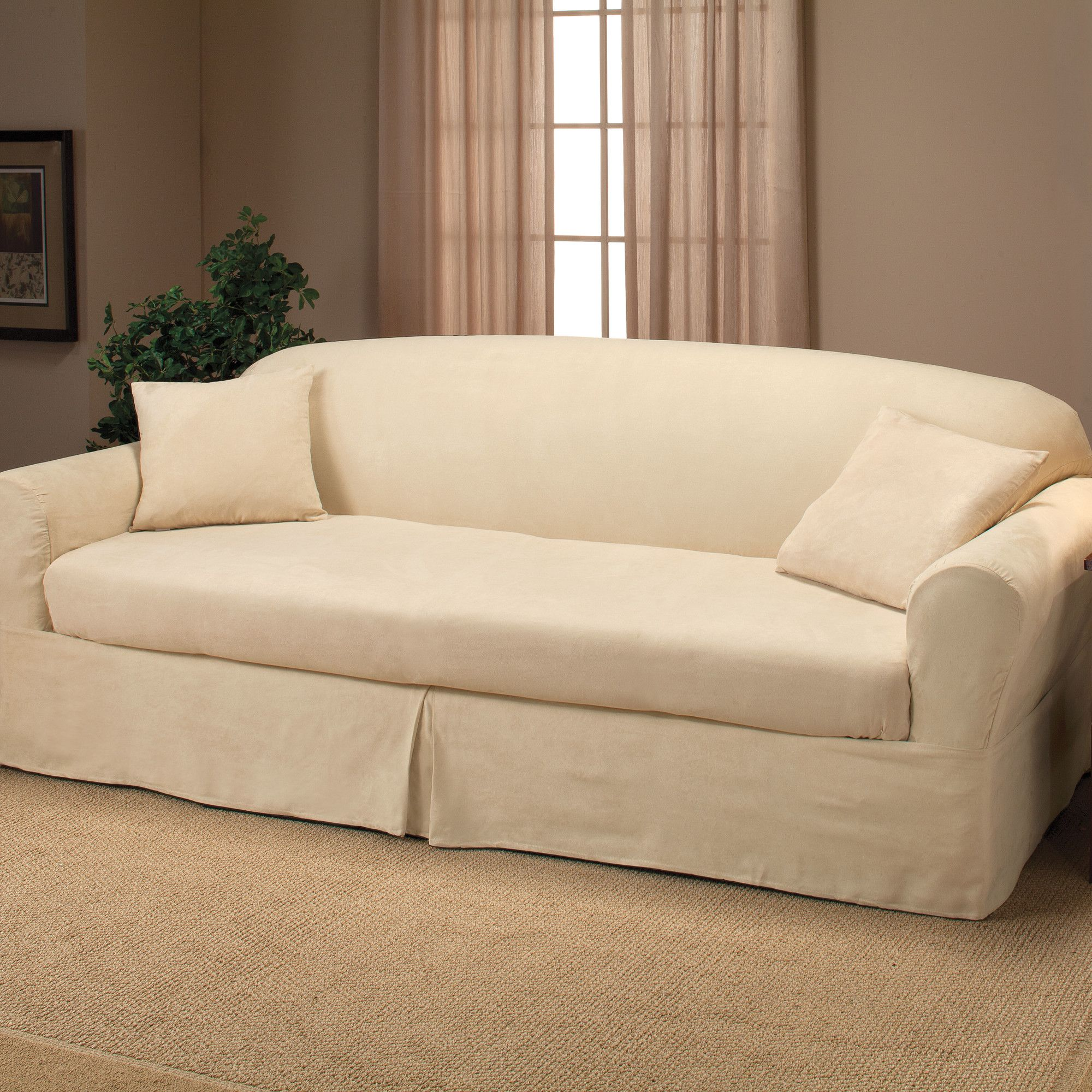 Microsuede 2 Piece Sofa Slipcover Sectional Sofa Slipcovers