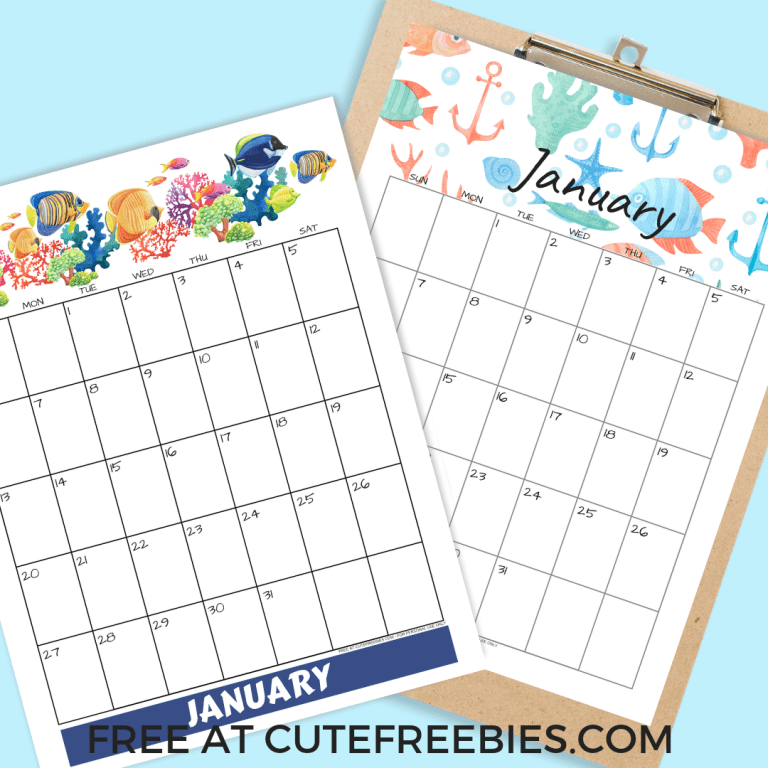 2019 Sea Themed Calendar Printables And More! Novas ideias