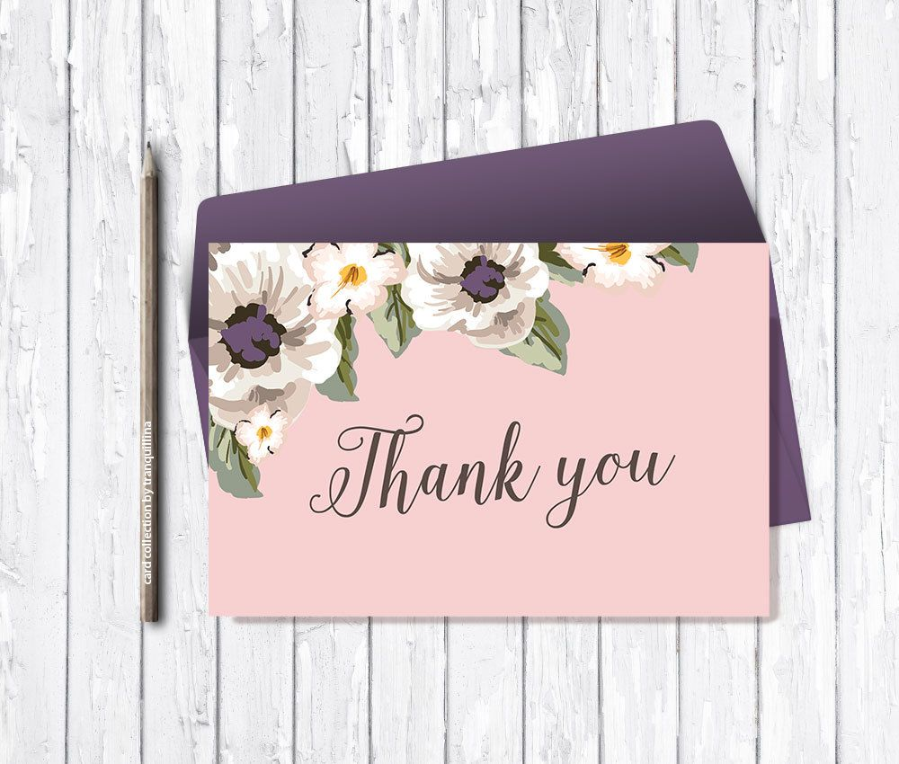 Thank You Card Printable Pink Floral Thank You Card Wedding Bridal