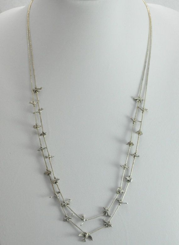 Sterling Native American Fetish and Liquid Silver Double Strand Necklace Bird Bear Frog Turtle and Fox Fetishes 19 Grams