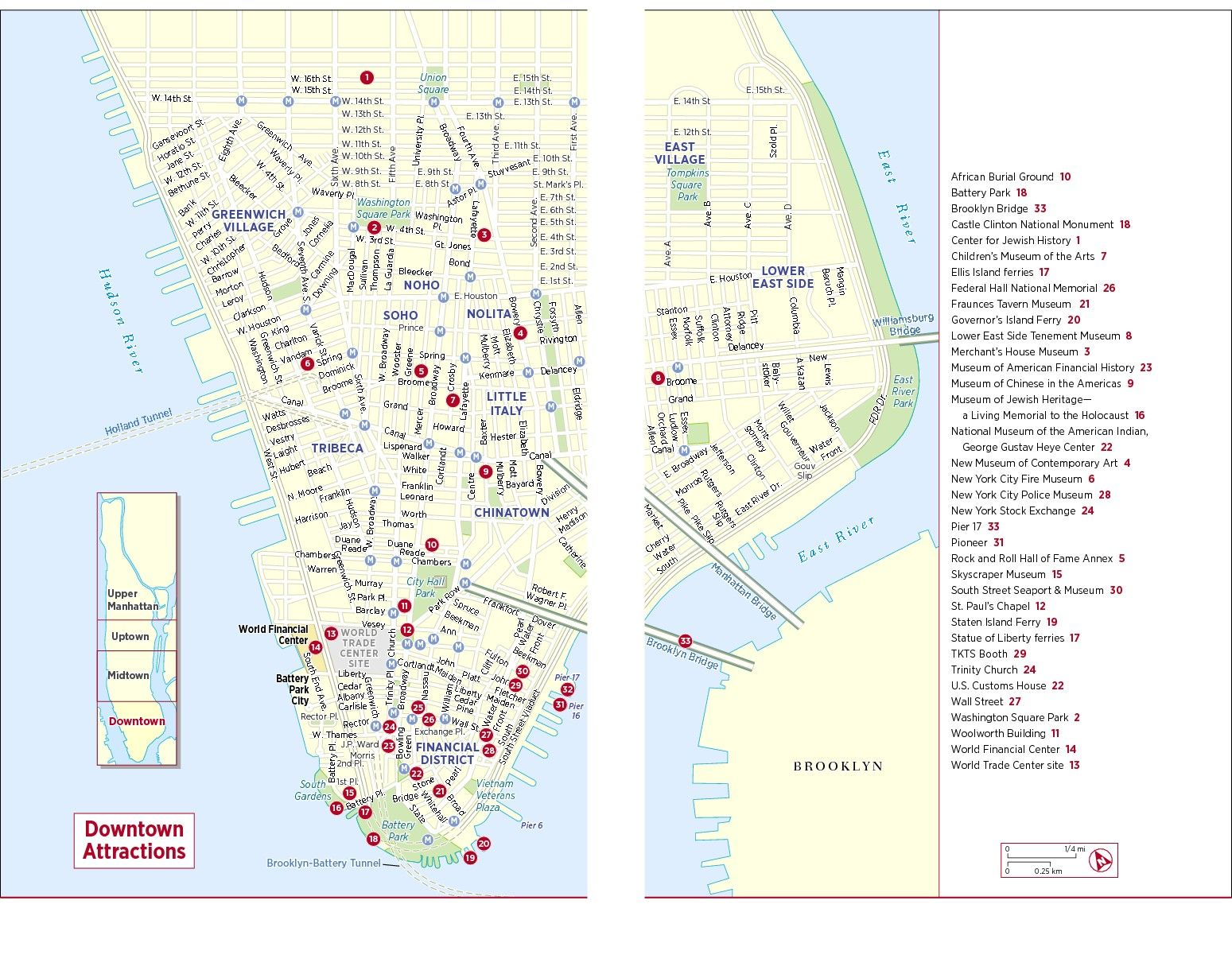 Frommers Map of Downtown Attractions NYC – Nyc Tourist Map Printable