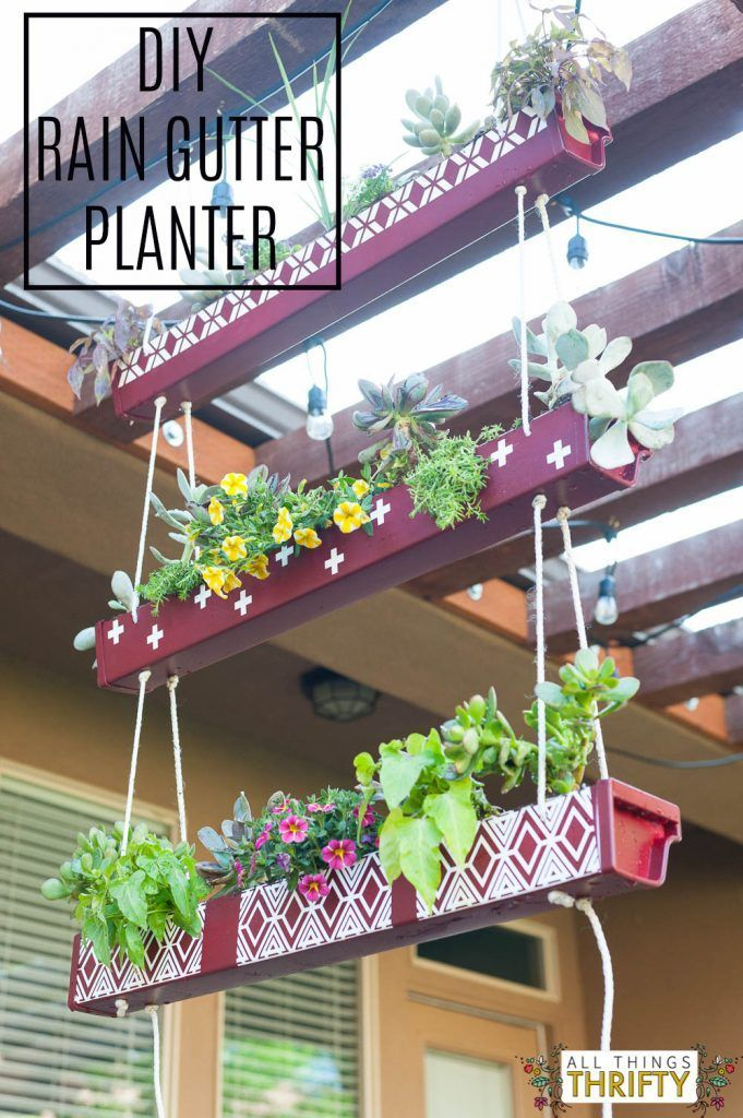 Gutter Hanging Planter with Instructions DIY Hanging Rain Gutter PlanterDIY Hanging Rain Gutter Planter