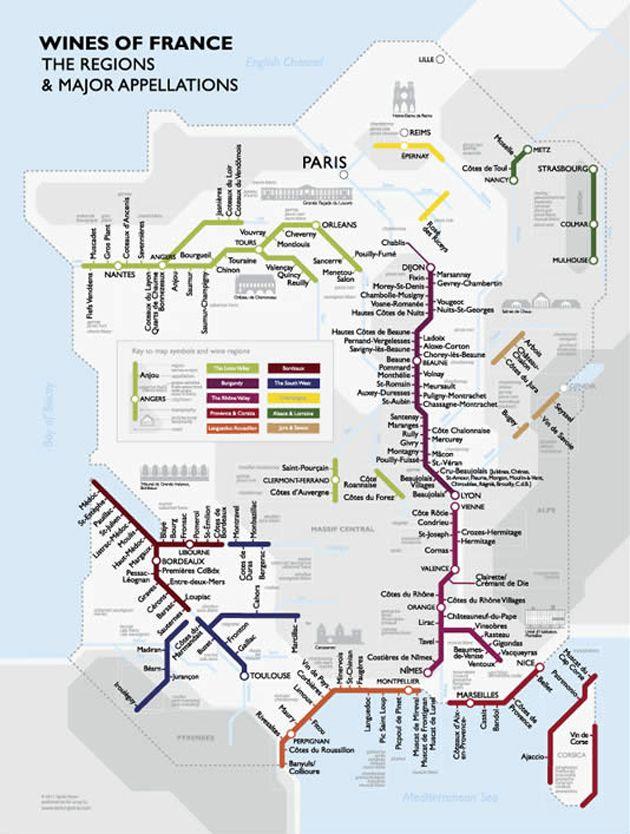 Cartina Vini Francia.Mappa Dei Vini Francesi Vino Francese Mappe E Bere Vino