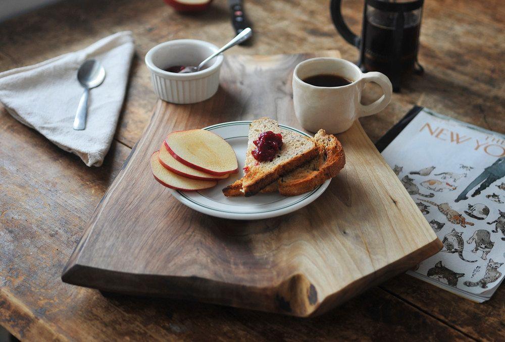 New York Breakfast - Rustic Serving Tray Cutting Board Walnut Footed Platte. $100.00, via Etsy.