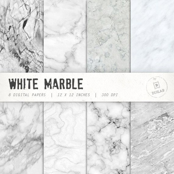 Marble Digital Paper In White Color With Various By Dijilab