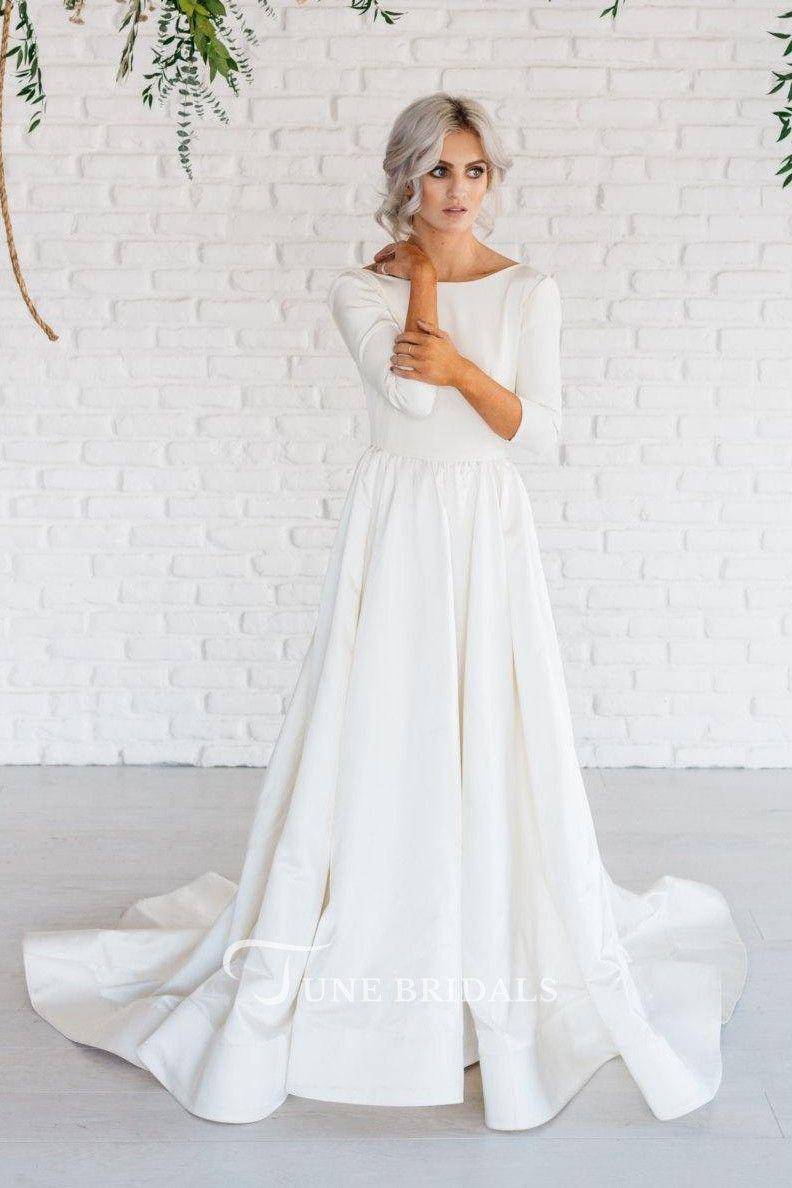 Pin By Jean Garcia On Bride Petite Wedding Dress Long Sleeve Satin Wedding Dress Simple Wedding Gowns [ 1188 x 792 Pixel ]