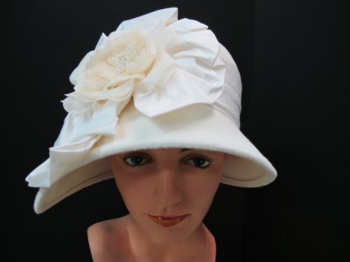 Ladies dressy church cloche hat with large flower ee8e7aa943f