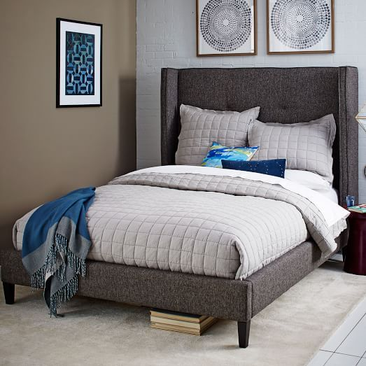 Tufted Wingback Bed | west elm | the house that lici built | Pinterest