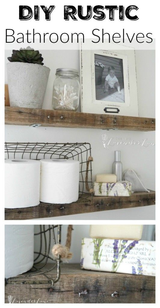 DIY Rustic Bathroom Shelves