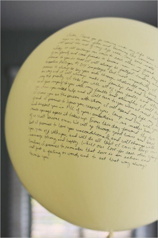 love note balloons  detalhes de um casamento... Achei lindo o texto no balão (bexiga).