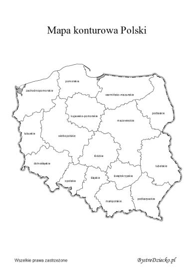 Mapa Konturowa Polski Z Podziałem Na Województwa Polska