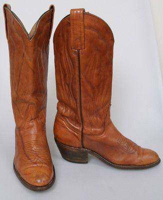 eb0a56a0d55 Vintage FRYE Womens 8.5 COWBOY Western Tan Brown Leather Riding ...