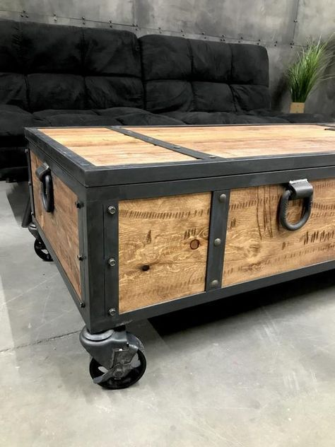 Industrial Locking Chest Rustic Coffee Table Storage Bench